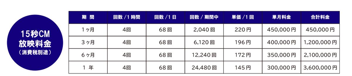 静岡東急スクエア/ICAビジョン料金表